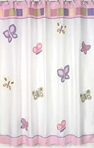 Pink and Purple Butterfly Collection Kids Bathroom Fabric Bath Shower Curtain by Sweet Jojo Designs