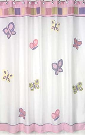 Pink and Purple Butterfly Collection Kids Bathroom Fabric Bath Shower Curtain