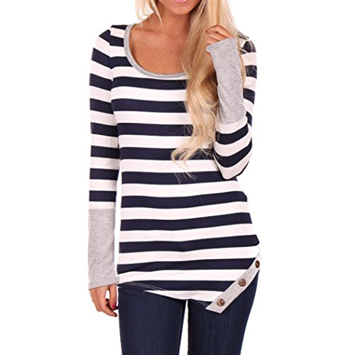 Usstore-Womens-Stripes-Stitching-Long-sleeved-Shirt-Tops-Blouse