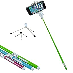 SunSmart 5 in 1 Multifunction High Tech Ecofriendly Carbon FiberZ Bluetooth Remote Shutter Control Extendable Selfportrait Photo Selfie Handheld Stick Monopod with Adjustable Phone Holder Stand for iPhone 5/5S Samsung Blackberry Camera (Green)