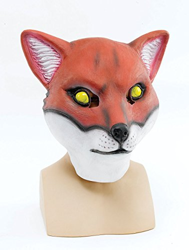 Bristol Novelty Red/White Fox Mask Rubber Masks Men's One Size