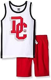 DC Apparel Little Boys 2 Piece Jersey Tank Top with Poplin Plaid Woven Short Set, White, 6
