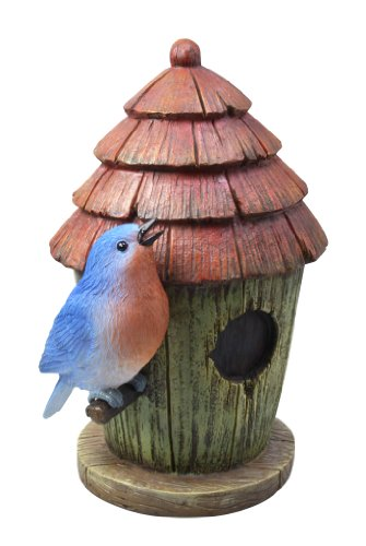 Moonrays 91341  Outdoor Solar-Powered LED Statue Glowing Blue Bird and Birdhouse