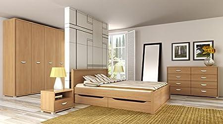 Schlafzimmer komplett 166321 mit Bett, Kleiderschrank und Nachtkonsolen eiche nova