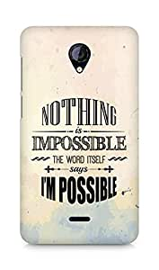 AMEZ Nothing is Impossible Back Cover For Micromax Unite 2 A106