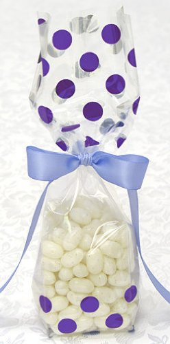 Metallic Purple Polka Dot Tall Cellophane Goodie Bag (2in. W x 9 1/2in. H x 1 7/8in. Deep) - pack of 10