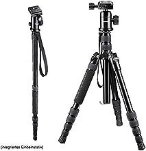 Mantona DSLM Travel Reisestativ (inkl. Kugelkopf, Belastbarkeit bis 5kg, drehbare Mittelsäule, kompaktes Packmaß) für Systemkamera, DSLR-Kamera und Kompaktkamera
