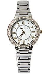 ANNE KLEIN White Face Silver Tone Bracelet Roman Letters Women's Watch