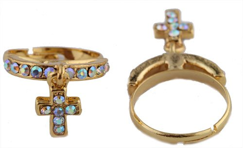 Ladies Gold with Clear AB Stones Iced Out Dangle Cross Adjustable Finger Ring
