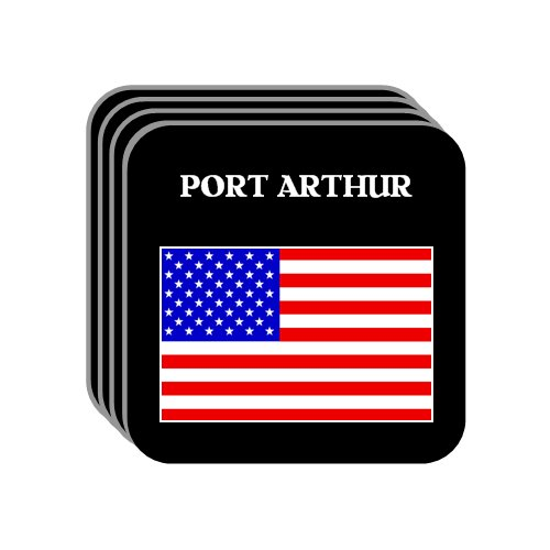 US Flag   Port Arthur, Texas (TX) Set of 4 Mini Mousepad Coasters