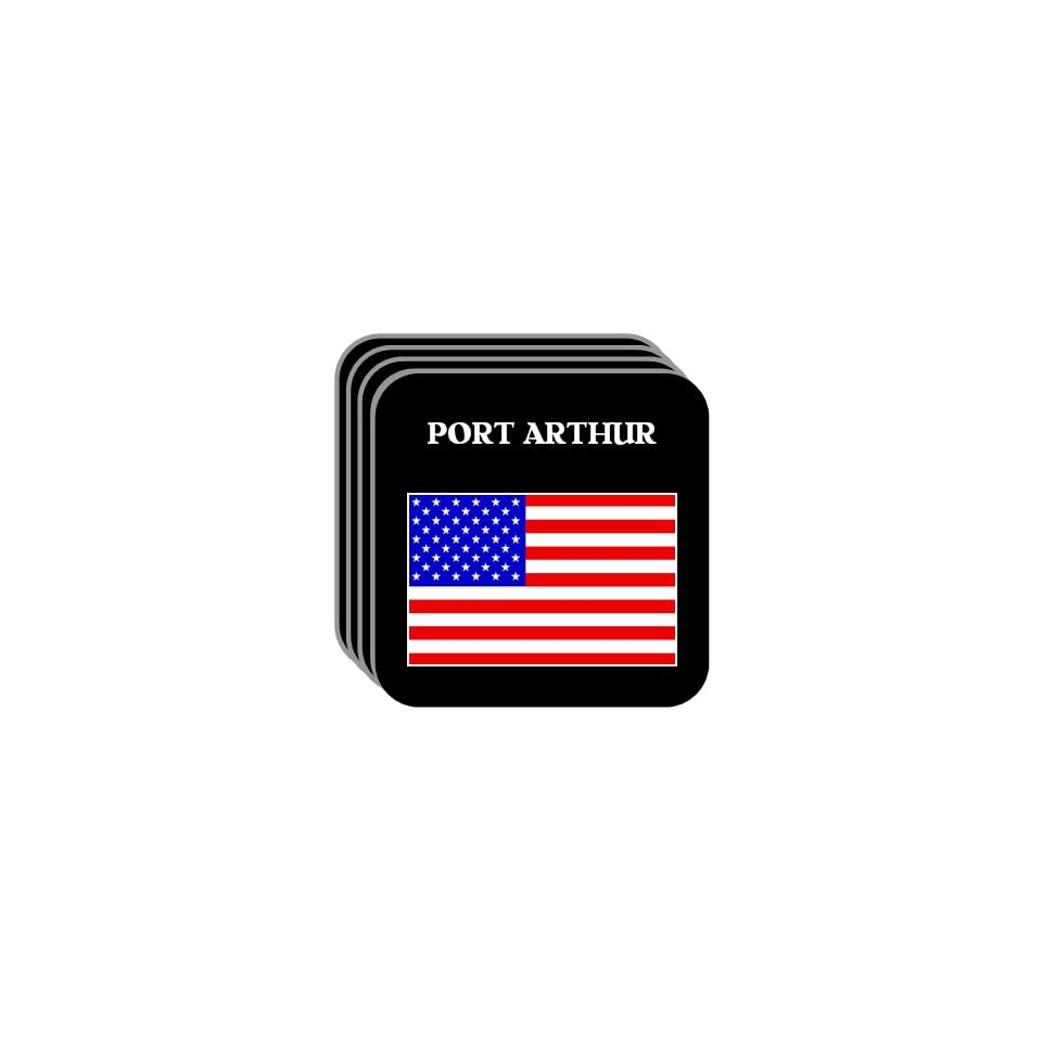 US Flag   Port Arthur, Texas (TX) Set of 4 Mini Mousepad