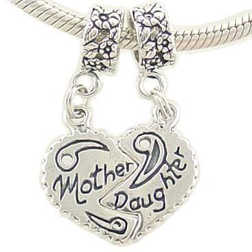 Mother Daughter Bead Charms Compatible with European Bracelet