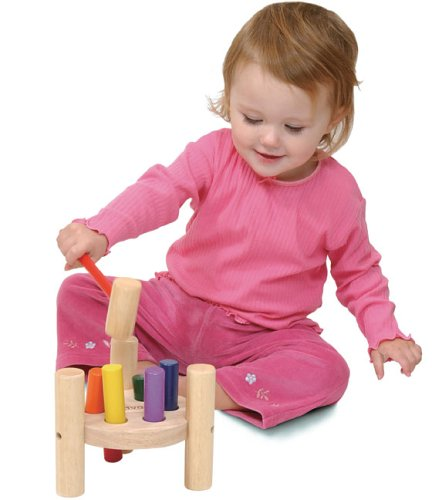 The Original Toy Company Educational Products - Wooden Hammer Pegs - Dimensions - 5H x 6.25W inches