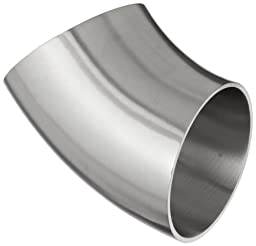 Dixon B2WK-G200P Stainless Steel 304 Sanitary Fitting, 45 Degree Polished Weld Short Elbow, 2\