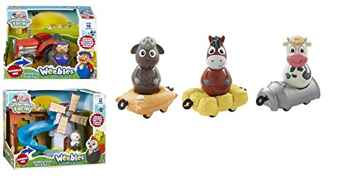 WEEBLEDOWN FARM BUNDLE - Wobbily Farm Mill & Barn, Wobbily Tractor, Dobbin Horse, Daisy Cow AND Woolaby Sheep - 5 ITEMS SUPPLIED (Dispatched From UK)