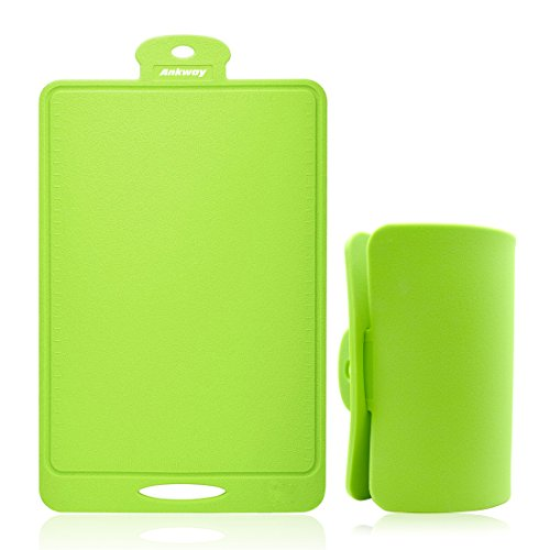 Ankway Flexible Cutting Board - Nonslip, Sturdy, Large, Thick, Antibacterial, Bendable Cutting Board (Green)