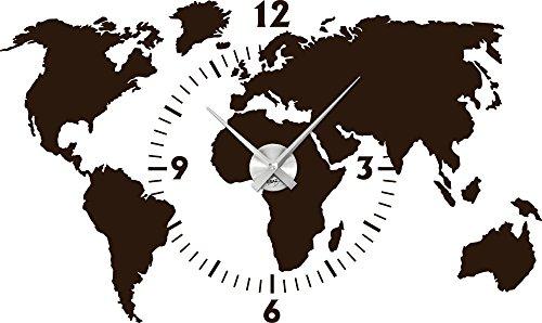 Wandtattoo Wanduhr Weltkarte mit Ziffernblatt und Uhrwerk für Ihr Büro (Uhrwerk silber gebürstet//080 braun)