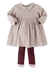 2 Piece Cotton Rich Corduroy Spotted Dress & Tights Outfit
