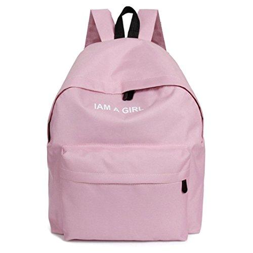 DDLBiz® 1PC Mädchen Segeltuch-Rucksack-Schule-Buch-Umhängetasche (Pink)
