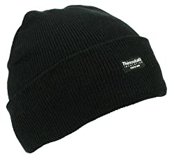 Mens Adult Winter Thermal Thinsulate Knitted Black Beanie Hat One Size