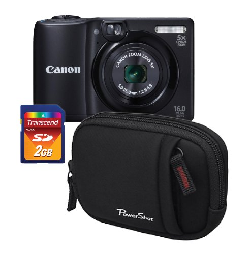 Canon PowerShot A1300 Digital Compact 16.0 MP Camera Bundle with Canon DCC-490 Soft Camera Case plus 2GB SD Card