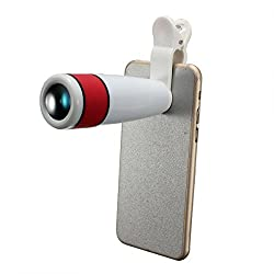 CHKOKKO 12x Zoom mobile phone lens camera lens with Adjustable Clip for HTC Red & White