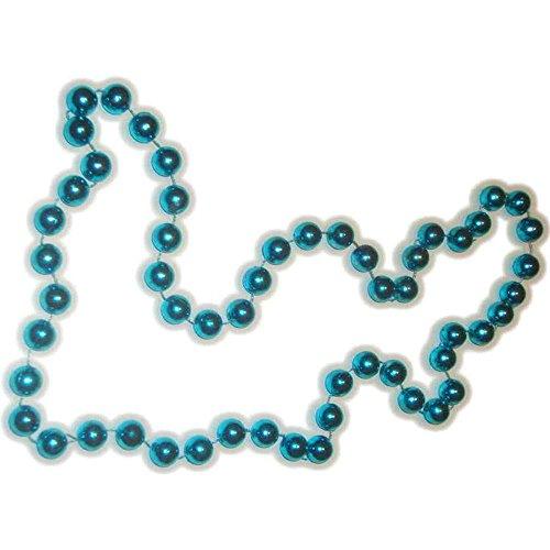 Festive Metallic Aqua Beaded Necklace - 1