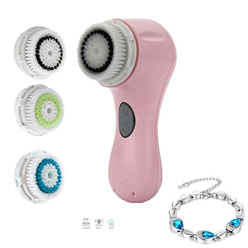 [NorJackbeauty Sonic Facial Cleansing Brush Rechargeable with 3 Heads,Pink] (Peeling Face Costume)