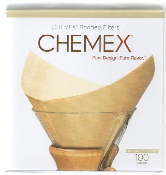 Chemex Bonded Unbleached Pre-folded Square Coffee Filters, 100 Count by International Housewares Corp