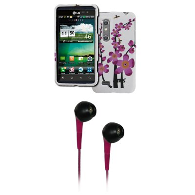 EMPIRE White with Spring Flowers Rubberized Design Hard Cover Case + Hot Pink 3.5mm Stereo Headphones for AT&T LG Thrill 4G