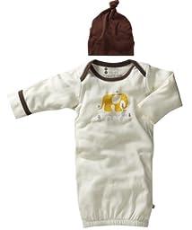 Babysoy Organic Layette Gown & Hat Newborn Sleep Sack Gift Set, Baby Boys (0-3 Months, Elephant)