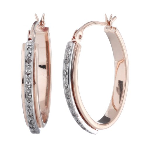 1/10 CT. Diamond Hoop Earrings Pink Gold Plated Over Sterling Silver