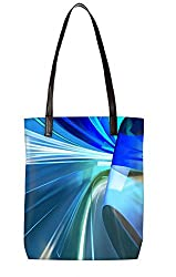 Snoogg Blue Ways Trips Womens Digitally Printed Utility Tote Bag Handbag Made Of Poly Canvas With Leather Handle