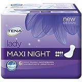 Tena Lady Maxi Night, Einlagen für mittlere Blasenschwäche / Inkontinenz, 8er Pack (8 x 6 Stück)