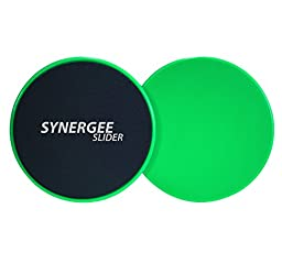 Synergee Green Gliding Discs Core Sliders. Dual Sided Use on Carpet or Hardwood Floors. Abdominal Exercise Equipment