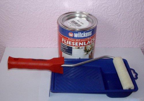 fliesenlack wei gl nzend fliesenfarbe 750ml lackierset. Black Bedroom Furniture Sets. Home Design Ideas