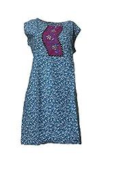 Tulip Collections Women's Printed Cotton Kurti (Blue)