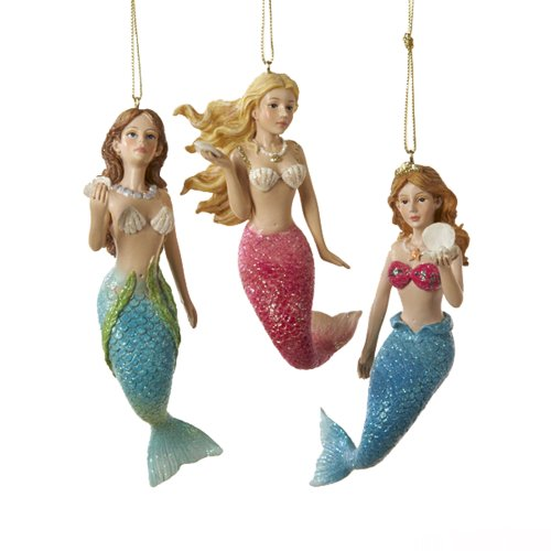 Kurt Adler 4-1/2-Inch Resin Mermaid Ornament, Set of