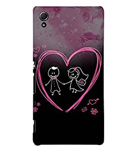 Cute Love Pair 3D Hard Polycarbonate Designer Back Case Cover for Sony Xperia Z3+ :: Sony Xperia Z3 Plus