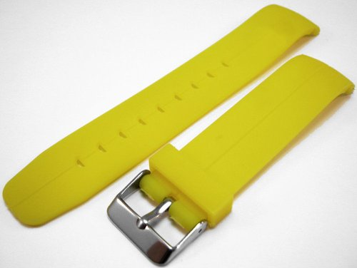 Yellow Curved End Polyurethane Rubber Divers Watch Strap band 22mm