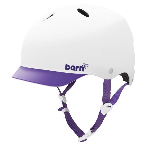 BERN Lenox Summer EPS Matte Helmet with Purple Brim