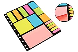 PIGLOO Sticky Notes & Page Markers Binder Pack, 250 Assorted Size Notes, 125 Page Markers, 25 x 19 cm, Assorted Colors