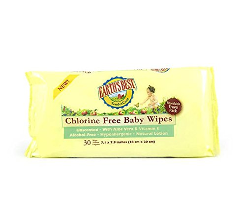 Earth's Best Chlorine Free Baby Wipes Travel Pack, 30 Wipes (Pack of 24) - 1