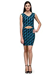 IKnow Women's Sheath Green and Navy Dress