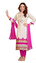 Parinaaz fashion Women's White cotton unstitched Straight Salwar Suit dress material