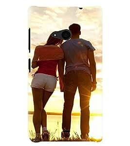 Printvisa Romantic Couple At Sunset Back Case Cover for Nokia Lumia 535::Microsoft Lumia 535