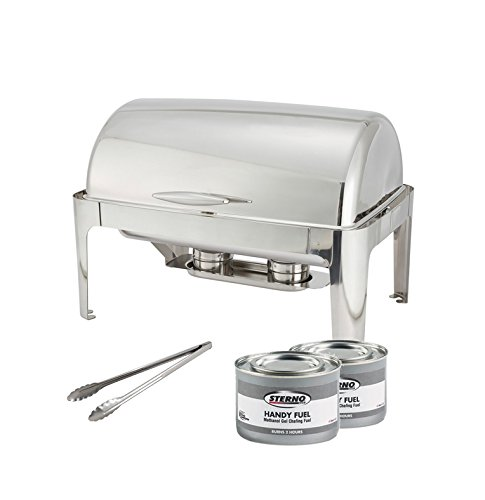 Winware 8 Quart Stainless Steel Full Size Roll Top Chafer, Chafing Dish Set with 2 Chafing Dish Methanol Gel Fuel and 16-Inch Stainless Steel Multi-Function Tong