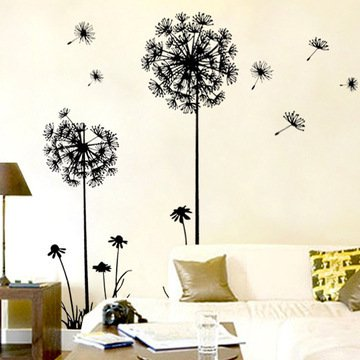 Melife® Black Creative House Decoration Removable Dandelion Pattern Wall Sticker Paper Doll