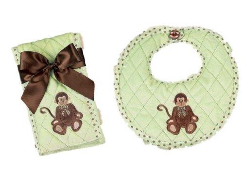 Bearington Bears Giggles Monkey Baby Bib and Burp Cloth Set - 1