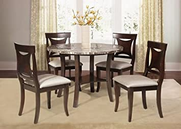 Furniture2go UFE-9462 Virginia 5pc Dining Set - Dining Table with 4 Chairs - Brown & Marble - Wood & Fabric & Synthetic Marble, Assembly Required